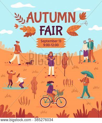 Autumn Fair. People Enjoying Public Park, Fall Festival, Crafts And Street Food Market, Season Harve