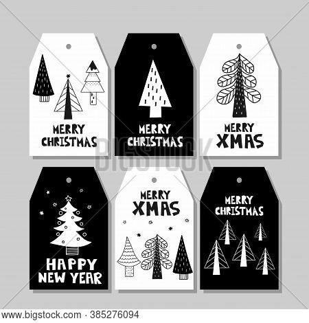 Christmas Tag. Decorative Gift Labels With Xmas Symbol Fir Tree In Scandinavian Style With Lettering