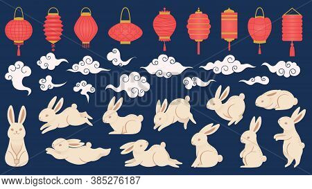 Mid Autumn Rabbits. Chinese And Vietnamese Traditional Festival Elements In Oriental Style With Lant