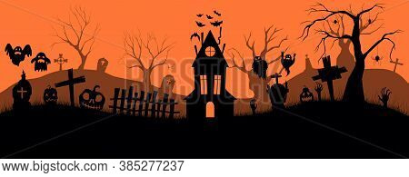 Happy Halloween Banner. Holiday Event Halloween Banner Background Concept. Template For Advertising