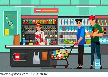 Cashier And Shoppers At Supermarket. Woman Employee Working At Cash Desk. Buyer With Shopping Cart,