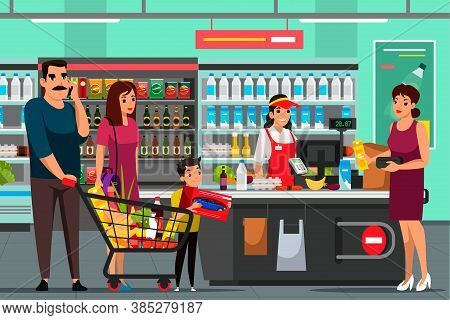 Cashier And Shoppers At Supermarket. People With Grocery Shopping Stand In Line At Checkout. Woman E