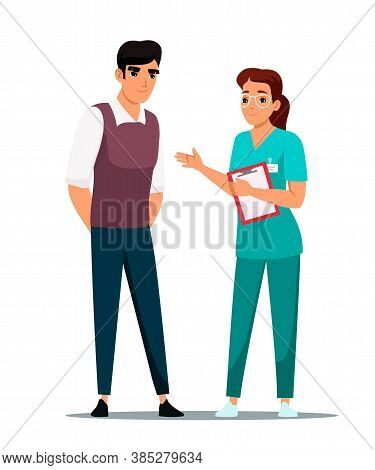 Young Man Getting Doctor Physician Consultation And Professional Advice. Woman Therapist Talking To