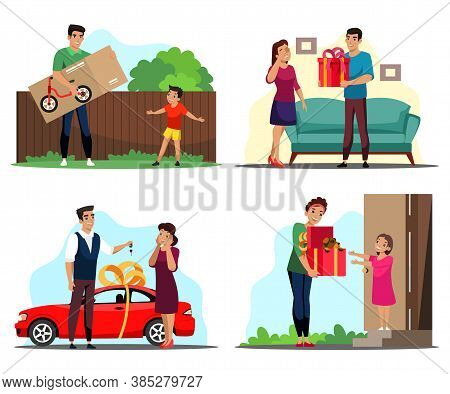 Surprise Gives Gift Scene Set. Dad Gives His Son Bicycle In Box. Man Gives Present Box To Girl. Husb