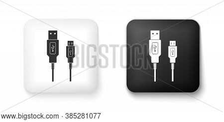Black And White Usb Micro Cables Icon Isolated On White Background. Connectors And Sockets For Pc An