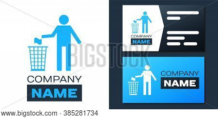 Logotype Man Throwing Trash Into Dust Bin Icon Isolated On White Background. Recycle Symbol. Logo De