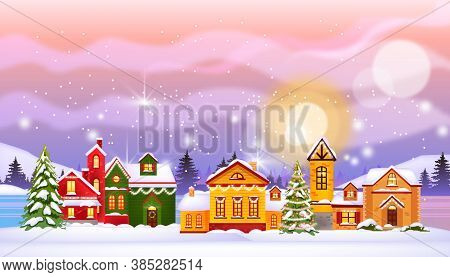 Christmas Winter Houses Illustration With Town In Snow, North Sky, Pines, Frozen Village Street. Hol
