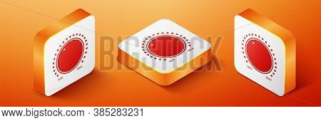 Isometric Dial Knob Level Technology Settings Icon Isolated On Orange Background. Volume Button, Sou