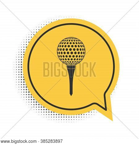 Black Golf Ball On Tee Icon Isolated On White Background. Yellow Speech Bubble Symbol. Vector