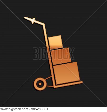 Gold Hand Truck And Boxes Icon Isolated On Black Background. Dolly Symbol. Long Shadow Style. Vector