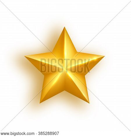 Golden Realistic Star On White Background. Glossy Christmas Star Icon. Luxury Holidays Design Elemen