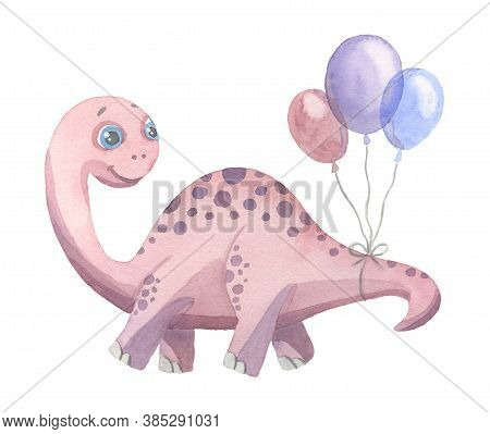 Cute Cartoon Purple Dinosaur With Balloons Painted In Watercolor Isolated On A White Background. Fan