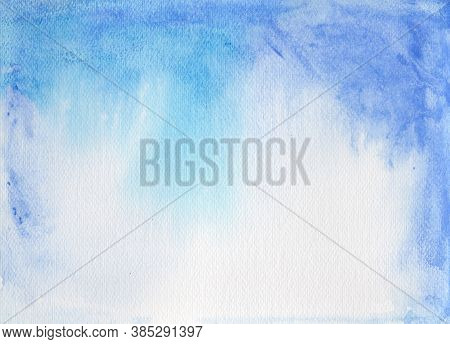 Abstract Background, Blue Watercolor On Paper Texture
