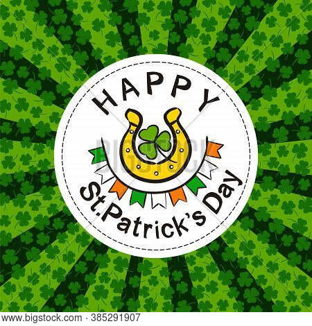 St. Patrick's Day Party Poster In Hand Drawn Style. Irish Elements On The White Round Frame. Gold Ho