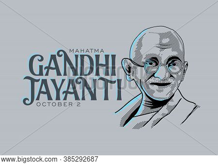 Mahatma Gandhi Line Drawing Vector With Gandhi Jayanti Text Gray Background