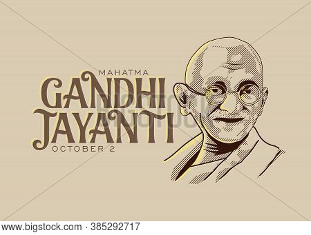 Mahatma Gandhi Line Drawing Vector With Gandhi Jayanti Text Old Paper Background