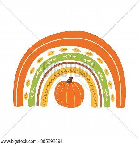 Fall Rainbow With Pumpkin Cute Autumn Greeting Card. Background For Fall Season. Baby Rainbow. Thank