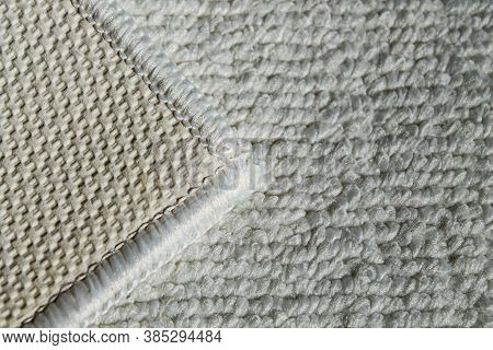 White Rug For Bathroom And Toilet. Carpet Texture With White Overlock.