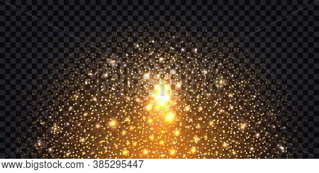 Golden Glitter Sparkles And Glowing Luminous Stardust On Dark Background. Flying Shiny Christmas Spa