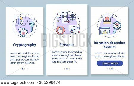 Network Security Onboarding Mobile App Page Screen With Concepts. Cryptography, Firewall, Intrusion