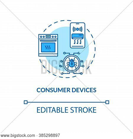 Consumer Devices Concept Icon. Wireless Network Connectivity Idea Thin Line Illustration. Cybersecur