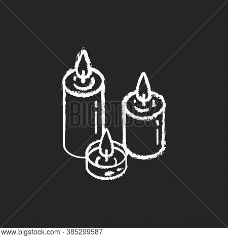 Candlelight Chalk White Icon On Black Background. Atmosphere Changing. Hygge Element. Romantic Mood.