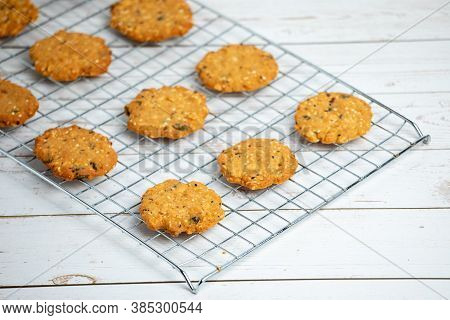 Homemade Delicious Cookies With Whole Grain Arrange On Stainless Griddle