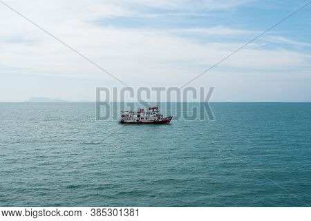 Koh Samui Island, Thailand - December 15, 2019 : Ferry Conveying Passenger From Donsak Pier Surat Th