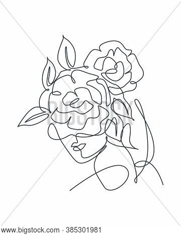 Single Continuous Line Drawing Pretty Woman Face With Flowers. Nature Beauty Botanical Print Concept