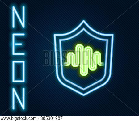 Glowing Neon Line Shield Voice Recognition Icon Isolated On Black Background. Voice Biometric Access
