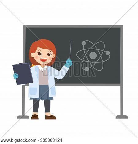 Little Science Kid Working With Science Tools In Lab. Kid Having A Chemistry Lesson. Back To School.