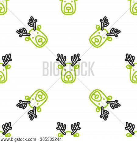 Line Deer Head With Antlers Icon Isolated Seamless Pattern On White Background. Vector