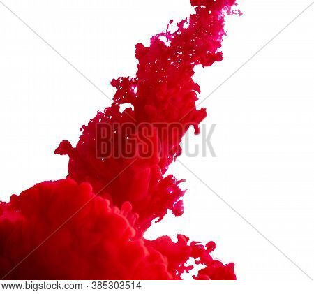Splashes Of Bright Red Paint On A White Background
