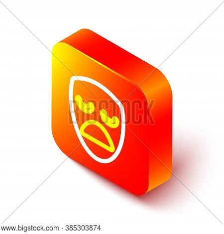 Isometric Line Drama Theatrical Mask Icon Isolated On White Background. Orange Square Button. Vector