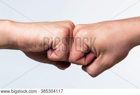 Man Giving Fist Bump. Team Concept. Hands Of Man People Fist Bump Team Teamwork, Success. People Bum