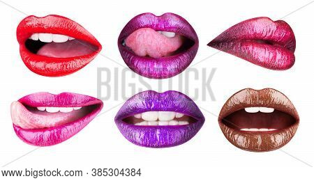 Colored Lip, Lipstick Or Lipgloss, Sexy. Collection Open Mouth. Bright Female Lips Collection Isolat