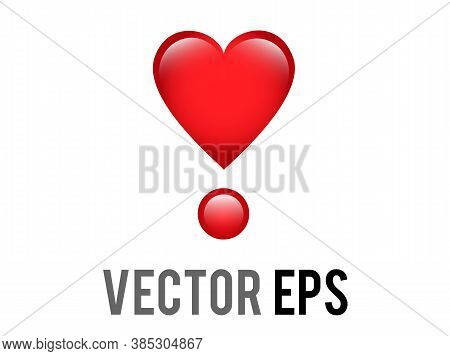 The Isolated Vector Love Red Glossy Love Heart Exclamation Mark Icon