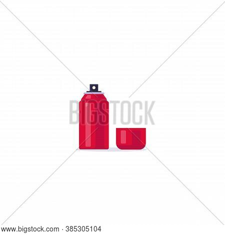 Body Spray Aerosol. Spray Flat Style Vector. Red Paint, Or Other Graffit Color. Deodorant Or Other H