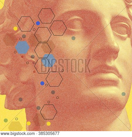 Art Collage With Antique Sculpture Of Apollo Face And Numbers, Geometric Shapes. Beauty, Fashion And