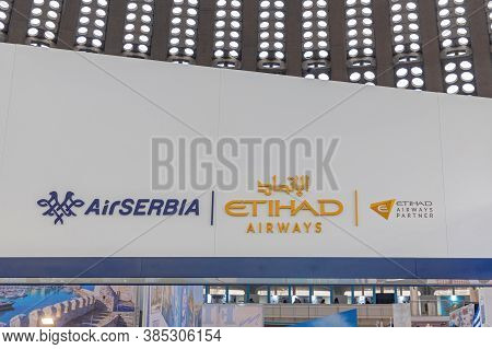 Belgrade, Serbia - February 21, 2020: Air Serbia And Etihad Airways Signs At Tourism And Travel Fair