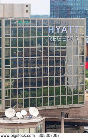 Belgrade, Serbia - June 23, 2019: Sign Hyatt Regency At American Hotel In Belgrade, Serbia.
