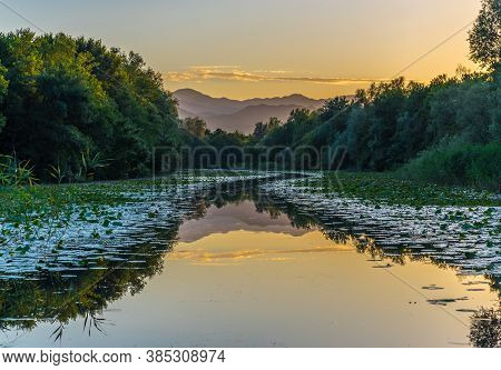 Chernoyevich's River Is Especially Beautiful At Sunset In An Environment Of The Mountains Of Montene