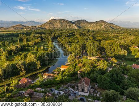 Beautiful Evening View Of The Mountains And River From The Fortress Crnojevica. Skadar (shkoder) Lak