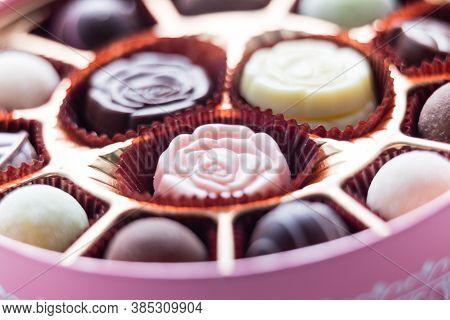 Pink Box Of Chocolate With Assorted Chocolates, Macro