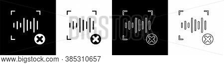 Set Rejection Voice Recognition Icon Isolated On Black And White Background. Voice Biometric Access