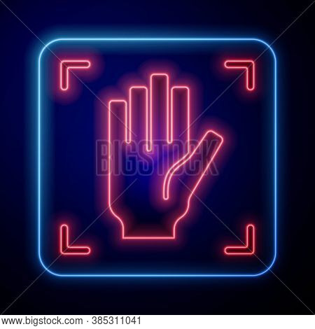 Glowing Neon Palm Print Recognition Icon Isolated On Blue Background. Biometric Hand Scan. Fingerpri
