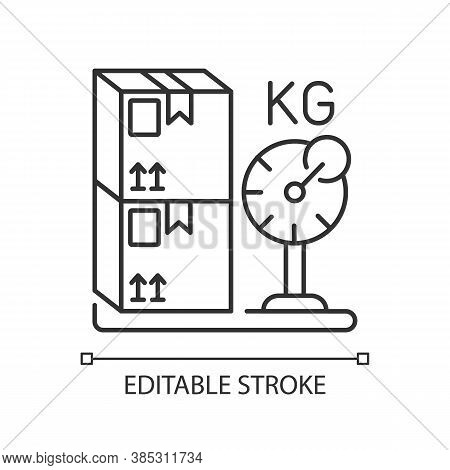 Cargo Weight Linear Icon. Postal Service, Freight Transportation Thin Line Customizable Illustration
