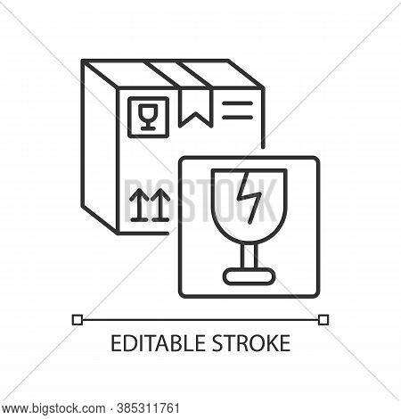 Fragile Items Linear Icon. Breakable Box Content. Postal Service Thin Line Customizable Illustration