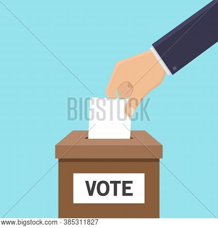 Voting Concept Flat Design Style, Hands Holding Ballots, Put Ballots Into The Box Vector Design