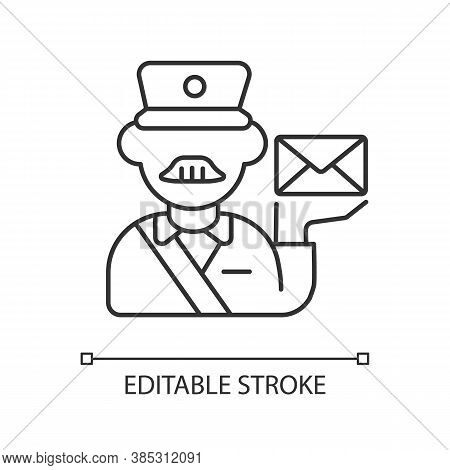 Postman Linear Icon. Postal Service, Courier Delivery Thin Line Customizable Illustration. Post Offi